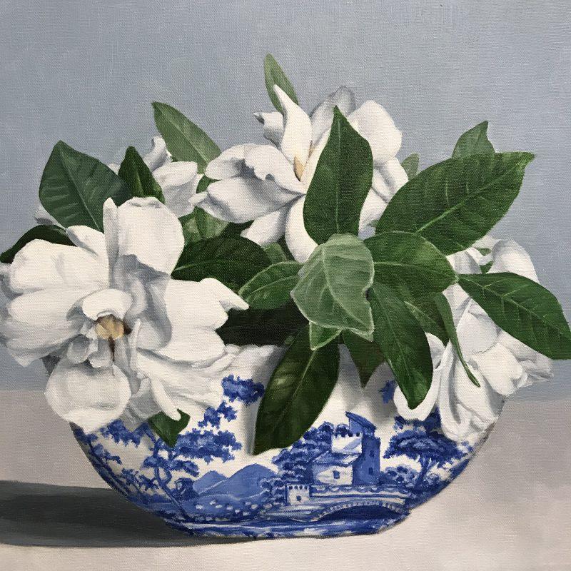 """Gardenia in Blue & White"""